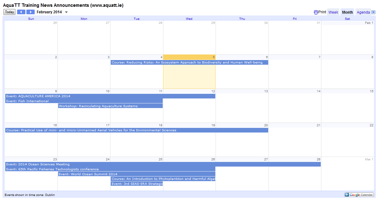 Announcements Calendar Feb 2014