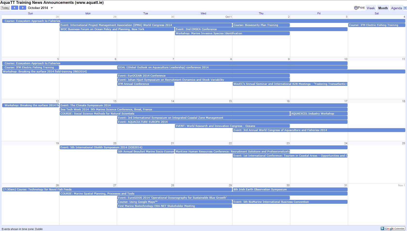 October calendar New