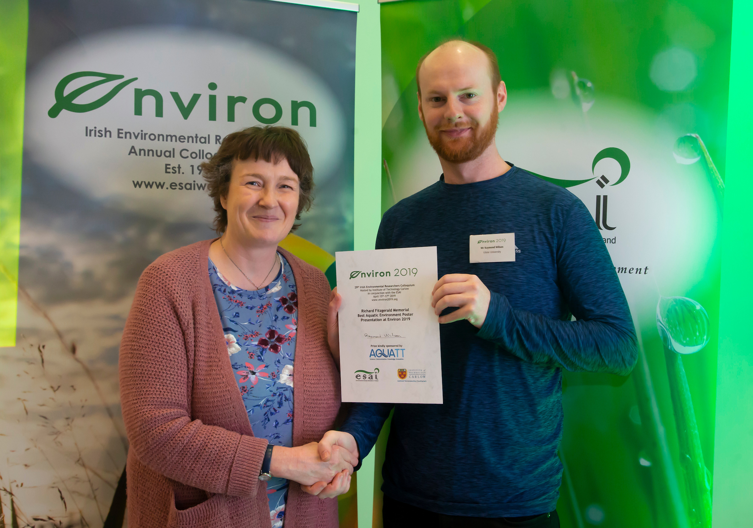 Prizegiving Frances Lucy ESAI Presents Raymond Wilson University of Ulster with award Richard Fitzgerald Memorial Prize Best Aquatic Env Poster